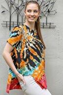 Chiccy Kadın Siyah-Turuncu Sıfır Yaka Batik Desenli Dokuma Salaş Bluz M10010200BL95416