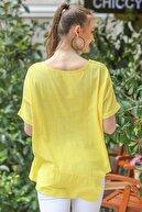 Chiccy Kadın Sarı Sıfır Yaka Etek Ucu Asimetrik Salaş Dokuma Bluz M10010200BL95409