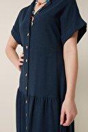 Gusto Keten Gömlek Elbise - Lacivert
