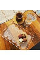 byplexiumlaser 2 Li Set Dantel Desen Tek Kişilik Kahve Sunum Tepsi 14x22 Cm