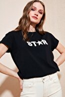 Lela Kadın Siyah Baskılı % 100 Pamuklu Bisiklet Yaka T Shirt 6010021