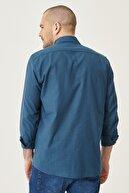Altınyıldız Classics Erkek KOYU PETROL Tailored Slim Fit Dar Kesim Düğmeli Yaka %100 Koton Gömlek