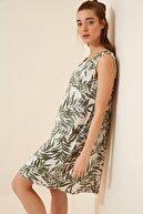 Happiness İst. Kadın Çağla Yeşili Desenli Keten Viskon Mini Elbise BH00343