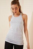 Happiness İst. Kadın Siyah Gri Atletli Salaş İkili T-shirt ZV00136