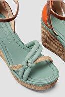 Limoya Kadın Yeşil Hasır Detaylı Yüksek Dolgu Topuklu Ayakkabı
