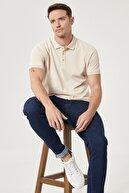 Altınyıldız Classics Erkek A.BEJ-BEYAZ Düğmeli Polo Yaka Cepsiz Slim Fit Dar Kesim Düz Tişört