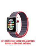 Apple Microsonic Watch Series 6 44mm Hasırlı Kordon Woven Sport Loop Koyu Pembe