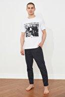 TRENDYOL MAN Graham Bell Baskılı Lisanslı Örme Pijama Takımı THMSS21PT0701