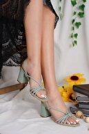 Öncerler Ayakkabı Kadın Yeşil Topuklu Ayakkabı