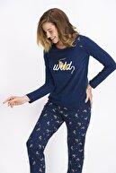 Arnetta Wild Tiger Lacivert Kadın Pijama Takımı