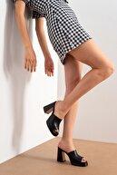 luvishoes Kadın Sıyah Cılt Topuklu Terlık