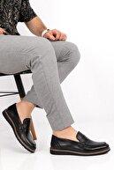 depderi Erkek Siyah Hakiki Deri  Casual Ayakkabı