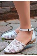 Espardile Kadın Beyaz Örgülü Sandalet