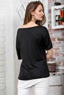 Chiccy Kadın Siyah Kayık Yaka Tek Omuz Askılı Etek Ucu Bloklu Baskılı T-Shirt M10010300TS98263
