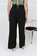 Transacoustic Kadın Siyah Palazzo Tiril Kumaş Beli Lastikli Geniş Paça Yazlık Pantolon