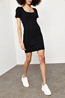 Xena Kadın Siyah Kare Yaka Fitilli Elbise 1YZK6-11762-02