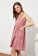 TRENDYOLMİLLA Gül Kurusu Düğmeli A-line Örme Elbise TWOSS21EL4054