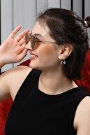 Angel Eyes Kahverengi Mat Cam Yuvarlak Sarı Metal Çerçeve Unısex Güneş Gözlüğü