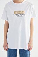 TRENDYOL MODEST Beyaz Baskılı Kısa Kollu Örme Tesettür T-shirt TCTSS21TN0276