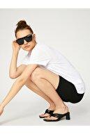 Koton Kadın Ekru Bisiklet Yaka T-shirt