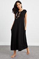 Cool & Sexy Kadın Siyah Cepli Kolsuz Elbise LV158