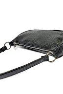 Güce Siyah Kroko Desenli Ayarlanabilir Askılı Baget Baguette El Ve Omuz Çantası Gc011700k