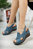 M&B Collection Kadın Mavi  Hakiki Deri Dolgu Topuklu Deri Sandalet