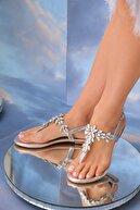 Oblavion Kadın Lavion Hakiki Deri Gümüş Günlük Taşlı Sandalet