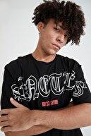 Defacto Erkek Siyah Oversize Fit Bisiklet Yaka Yazı Baskılı Kısa Kollu  T-Shirt
