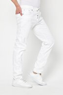 Tarz Cool Erkek Beyaz Slim Fit Destroylu Pantolon -byfpntr0241