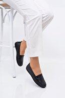 Frida Shoes Kadın Siyah Deri Ortopedik Taban Günlük Düz Anne Ayakkabısı
