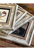 Oscar Stone Decor Çerçeveli Taş Duvar Dekoru 20x20cm 3lü Set Nar Ağacı Semazen Mevlana Fatma Ana Eli