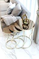 Pukka Sehpa Gold Rüya Model Zigon Sehpa Takımı (bronz Aynalı)
