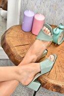Fox Shoes Kadın Yeşil Topuklu Terlik