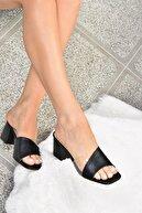 Fox Shoes Kadın Siyah Topuklu Terlik