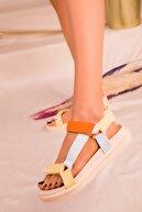 Soho Exclusive Turuncu-Mavı-Sarı Kadın Sandalet 16288