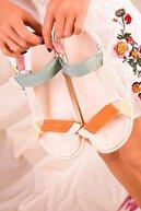 Soho Exclusive Turuncu-Yeşil-Pudra Kadın Sandalet 16288