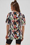 Pattaya Kadın Pembe Yırtmaçlı Oversize Kısa Kollu  T-Shirt