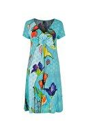 DCZ FASHION Belden Düğümlü Çiçek Desenli Midi Elbise