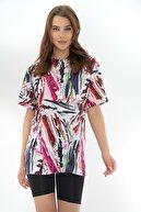 Pattaya Kadın Yırtmaçlı Oversize Kısa Kollu Tişört P21s201-2121