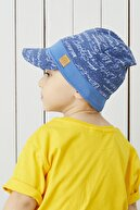 Babygiz %100 Pamuklu El Yapımı Ekstra Yumuşak Erkek Bebek Çocuk Mavi Vizyerli 4 Mevsim Penye Şapka