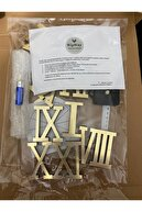 WİPWAY 3d Boyutlu Roma Rakamlı Duvar Saati Büyük Boy - Sabret Şükret Ve Allah Muhammed 6'lı Tablo Seti-gold