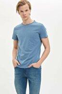 Defacto Erkek Mavi Basic Slim Fit T-Shirt