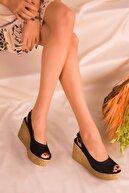 Soho Exclusive Siyah Süet Kadın Dolgu Topuklu Ayakkabı 16299