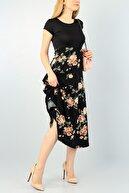 bayansepeti Kadın Siyah Kısa Kollu Çiçek Desenli Midi Boy Günlük Elbise