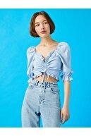 Koton Kadın Mavi Crop Balon Kol Büzgülü Bluz