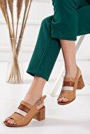 Dilimler Ayakkabı Kadın Camel Topuklu Sandalet