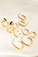 Elika Silver Kadın Halka Ve Kanca Model Küpe Set 5'li