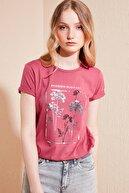 Lela Kadın Pembe Pamuklu Baskılı Bisiklet Yaka T Shirt 6001021