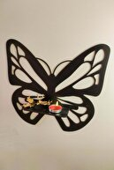pi10reklam Ahşap 3'lü Kelebek Dekoratif Duvar Biblo Rafı Siyah